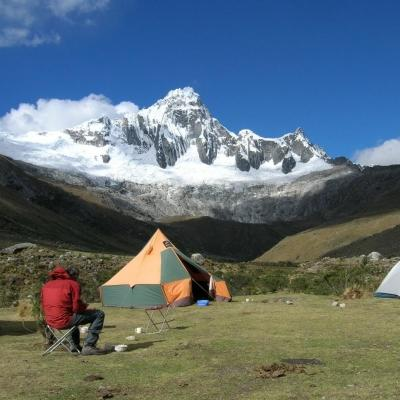 Joanne camping at the foothills of the Himalayan Mountains